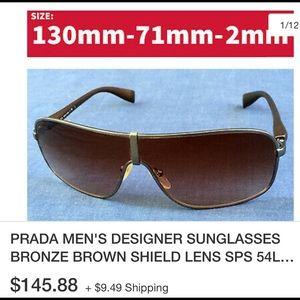 Authentic Prada men's designer shield sunglass